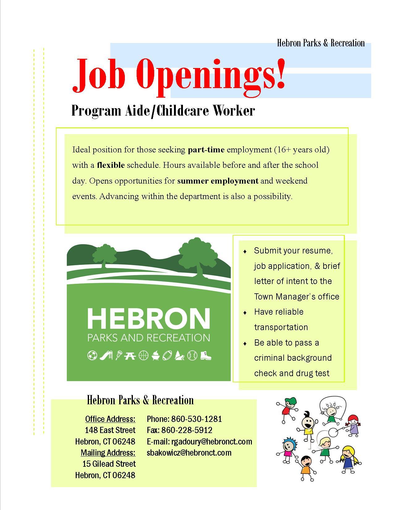 hiring flyer 16 17 town of hebron. Black Bedroom Furniture Sets. Home Design Ideas