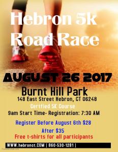 hebron 5k road race flyer